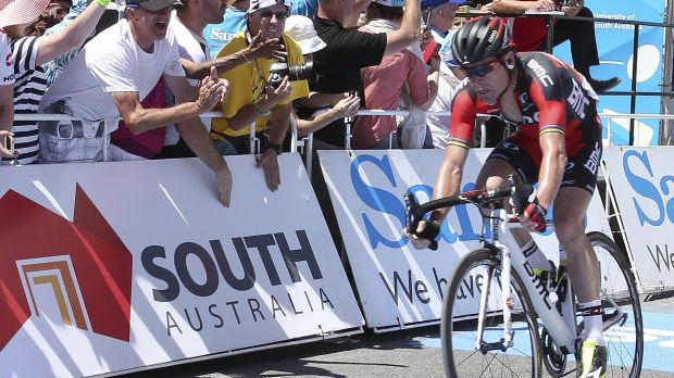 Veteran's farewell: Cadel Evans has moved into second overall in the Tour Down Under.
