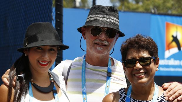 Nick Kyrgios's sister Halimah and parents George and Norlaila.