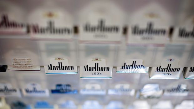 Philip Morris' Marlboro brand cigarettes are displayed for sale at a petrol station in Illinois, United States.