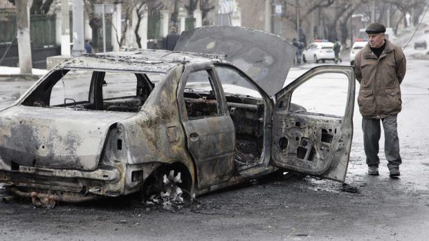 A nearby car was also destroyed in the attack.