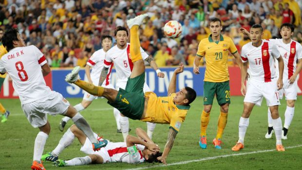 Super strike ... Australia's Tim Cahill performs a overhead kick to score the first of two goals for the Socceroos in ...