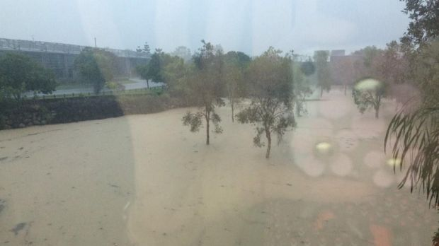 Flooding at Cannon Hill as Brisbane gets drenched on Friday.