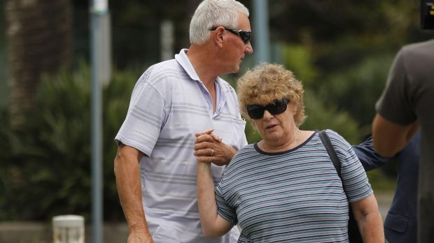 William Harrie Spedding with his wife, Margaret, leave the Port Macquarie police station on Friday morning.
