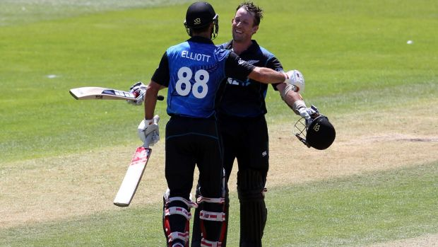 Smashed 'em: Black Caps Grant Elliott and Luke Ronchi both scored unbeaten centuries to help their side to 360-5 in the ...