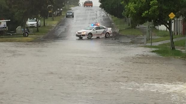 Flash flooding hits Albert Street, in Goodna.