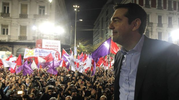 Front runner: Alexis Tsipras at a rally for his far-left Syriza party in Athens on Thursday.