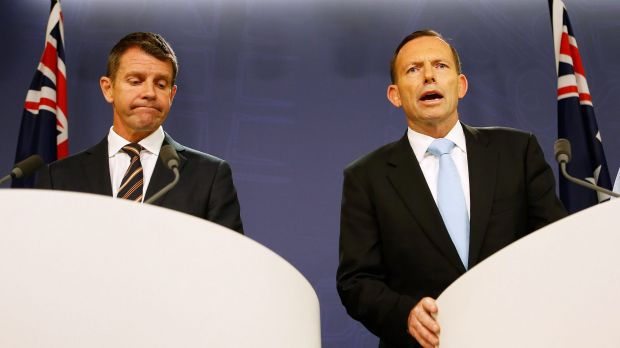 The re-election chances of the government of NSW Premier Mike Baird, left, are being eroded by the unpopularity of Prime ...