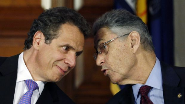 Governor Andrew Cuomo, left, and Assembly Speaker Sheldon Silver, speak at a press conference in 2014.