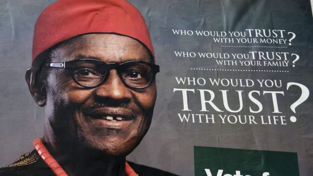 A poster of leading opposition All Progressive Congress presidential candidate Mohammadu Buhari in Lagos.