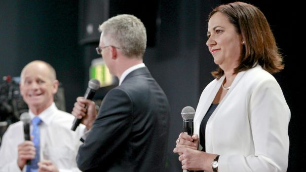 Premier Campbell Newman debates Opposition leader Annastascia Palaszczuk at the The People's Forum.