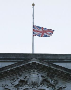 The Union flag flies at half mast at Buckingham Palace to mark the death of Saudi Arabia's King Abdullah.