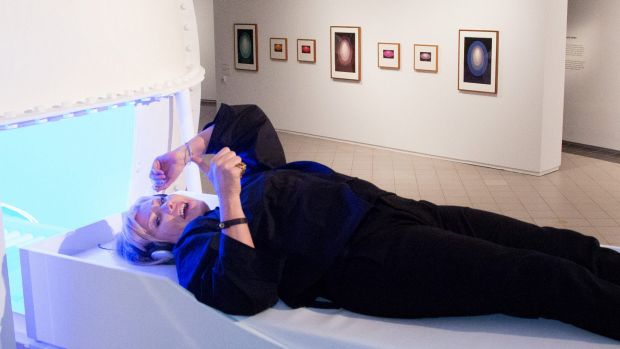 Deborra-Lee Furness, wife of Australian actor Hugh Jackman, visited the James Turrell: A retrospective at the National ...