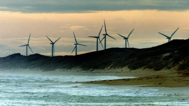 A wind farm in Port Fairy, Victoria.
