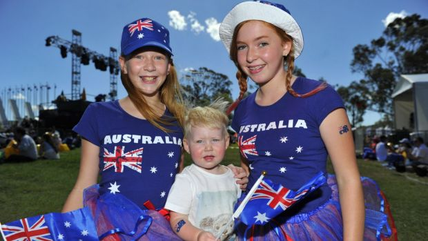 Tiana Jitts, Blair Mackenzie and Kailey Jitts at the Australia Day concert at Parliament House last year.