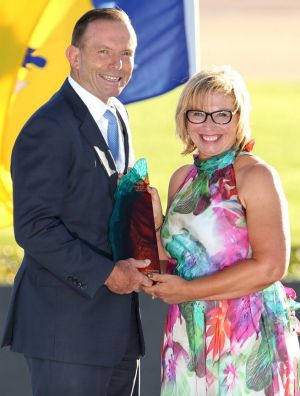 Australian of the Year Rosie Batty with Prime Minister Tony Abbott.