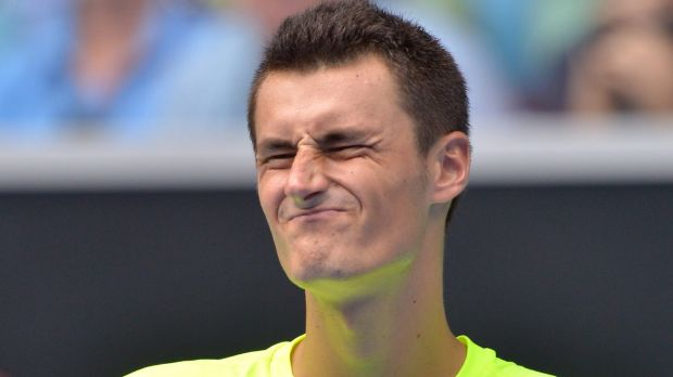 Tame exit: Bernard Tomic reacts during his match against Tomas Berdych.