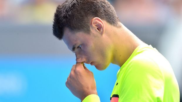 What's going wrong? Tomic tries to work out why he cannot get past Berdych.