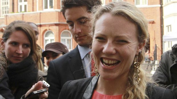 Sarah Harrison, assistant to Julian Assange, thanks supporters outside Ecuador's embassy in London in 2012. She is among ...