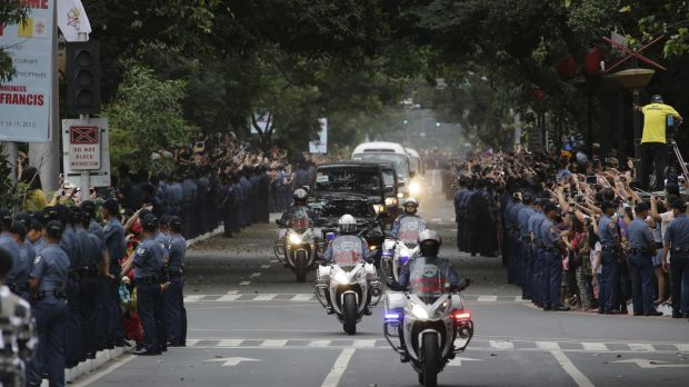 Massive security in Manila during the papal visit to the Philippines on January 17. The crowds are reported to have ...