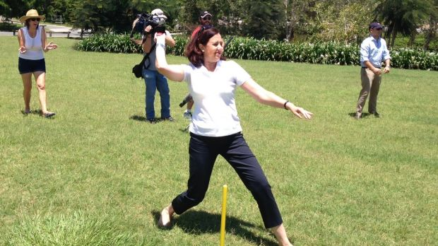 Opposition Leader Annastacia Palaszczuk gets in some Australia Day cricket at Priestdale, near Underwood.