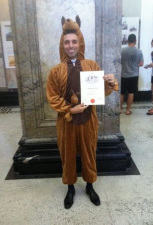 Thibaut Guigues dressed as a kangaroo for the citizenship ceremony in Brisbane.