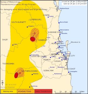 A storm warning issued by the Bureau of Meteorology on Australia Day shows storms heading slowly north and towards the coast.