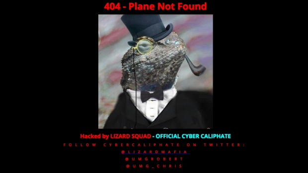 A screenshot of the defaced Malaysia Airlines website.