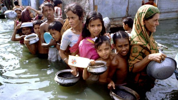 Flooding in Bangladesh in 1998 during an extreme La Nina event.