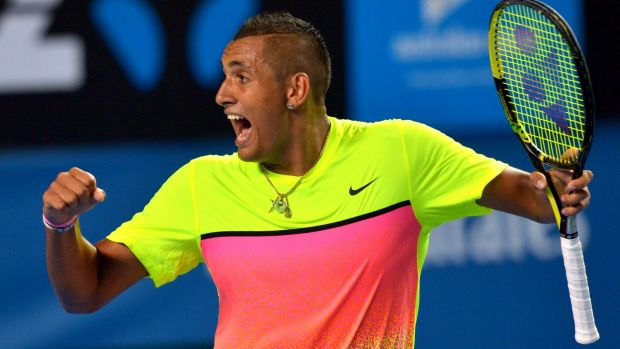 'Best competitor since Lleyton': Nick Kyrgios reacts to the momentum shifting in his favour against Andreas Seppi.