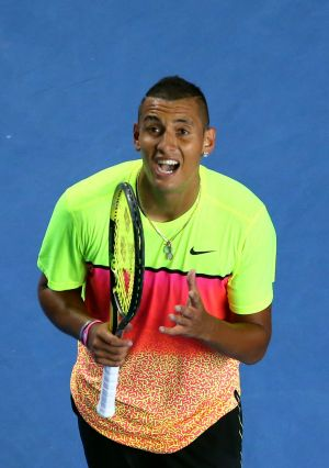 Nick Kyrgios loses his temper during his match against  Andreas Seppi.
