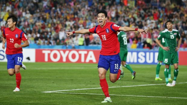 South Korea's Lee Jeonghyeop celebrates after putting his team ahead during the Asian Cup semi-final against Iraq on Monday.