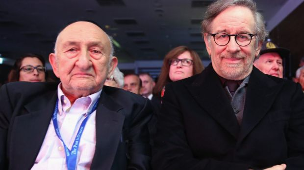 Steven Spielberg and holocaust survivor Samuel Beller during the gathering organised by USC Shoa Foundation and the ...