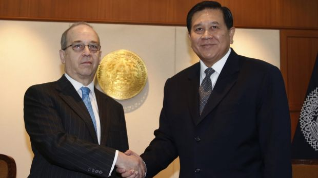 Blunt words: US Assistant Secretary of State for East Asian and Pacific Affairs Daniel Russel, left, shakes hands with ...