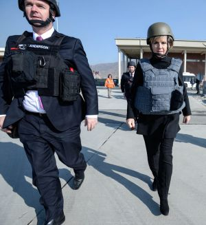 Foreign Affairs Minister Julie Bishop at KAIA base in Kabul. Ms Bishop met Afghan President Ashraf Ghani at the weekend.
