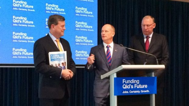 Premier Campbell Newman with Treasurer Tim Nicholls and deputy Jeff Seeney.