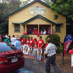 Kruger Hall, the site of the Labor rally.
