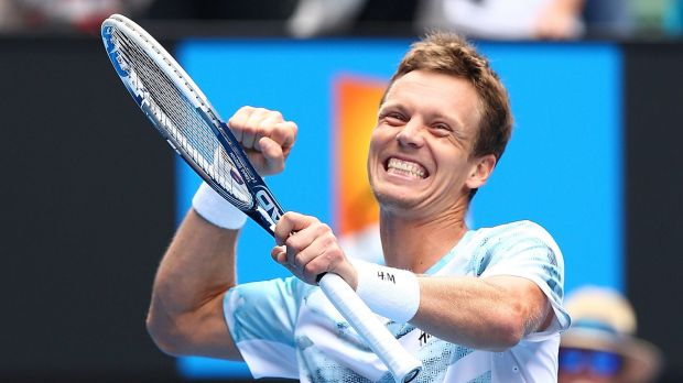 Finally: Tomas Berdych celebrates his first victory over Rafael Nadal in nine years in the men's singles quarter-finals ...