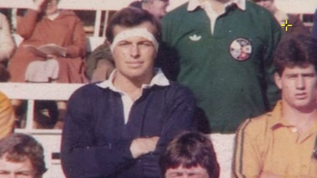 Tony Abbott at an Oxford versus Cambridge international rugby match in 1981.
