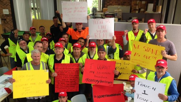 Inside the lunchroom at the IFF factory in Dandenong, where workers have locked themselves in.  Photo supplied by Emma ...
