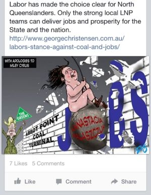 The cartoon uploaded to Liberal MP George Christensen's Facebook page.