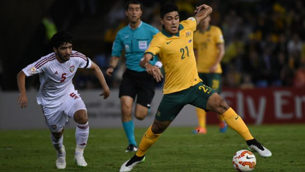 Massimo Luongo in action for the Socceroos.