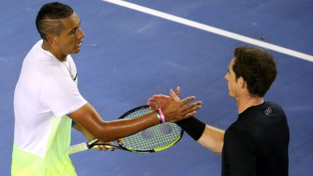 Well done: Nick Kyrgios and Andy Murray shake hands after the game.
