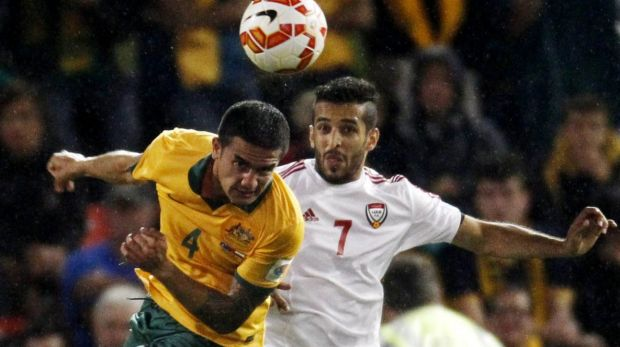 Focused: Tim Cahill wins a header against the UAE.