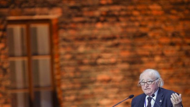 Courageous ... Survivor Roman Kent makes a speech at a ceremony on the site of the former Nazi German concentration and ...