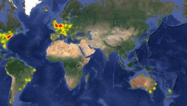 Facebook outage map.