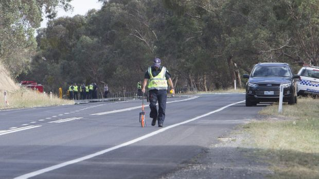 Police at the scene of the fatal accident at Pyalong.