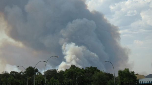 Smoke from the Pinjar fire on Tuesday afternoon.