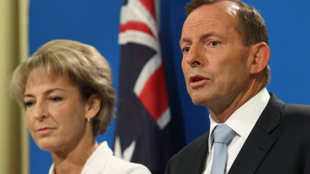 Minister Assisting the Prime Minister for Women, Michaelia Cash, and Prime Minister Tony Abbott in Melbourne on Wednesday.