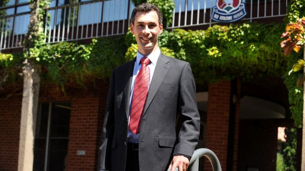 The principal of Canberra Grammar School, Justin Garrick, at the school in Red Hill.