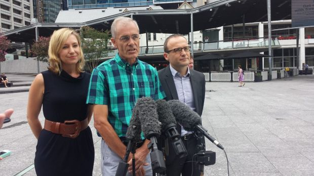 Greens Senator Larissa Waters, Greens lead spokesman Charles Worringham and deputy leader Adam Bandt announce the ...